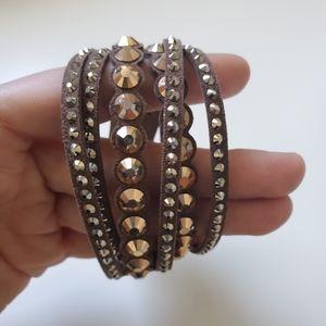 Swarovski slake brown dot bracelet